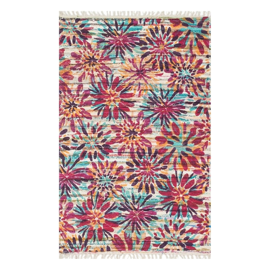 Loloi Aria Ivory/Berry Rectangular Indoor Handcrafted Nature Area Rug (Common: 4 x 6; Actual: 3.5-ft W x 5.5-ft L)