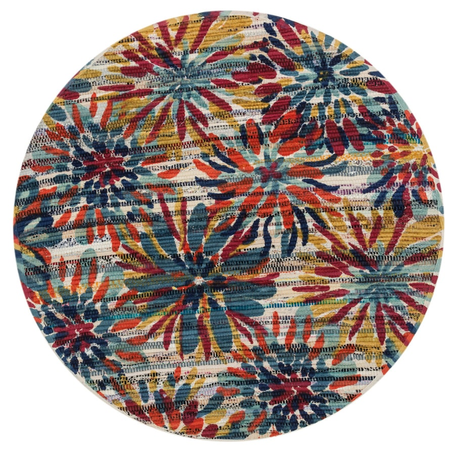Loloi Aria Ivory/Multicolor Round Indoor Handcrafted Nature Area Rug (Common:; Actual: W x L x 3-ft dia)