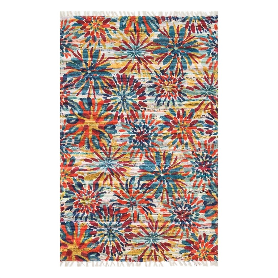 Loloi Aria Ivory/Multicolor Rectangular Indoor Handcrafted Nature Area Rug (Common: 4 x 6; Actual: 3.5-ft W x 5.5-ft L)