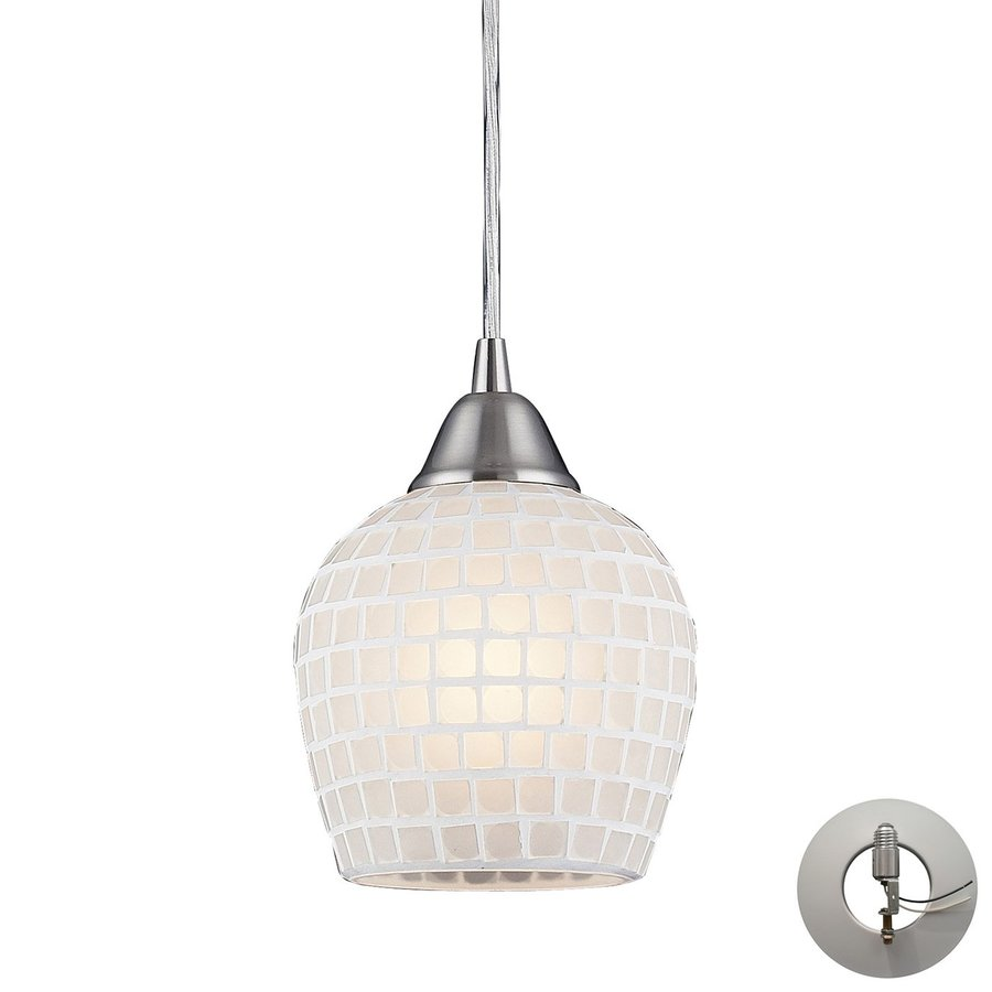 Westmore Lighting Brazoria 6-in Satin Nickel Mini Art Glass Teardrop Pendant