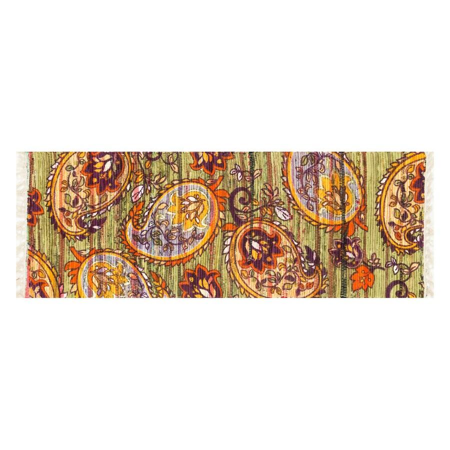 Loloi Aria Green/Orange Rectangular Indoor Handcrafted Runner (Common: 2 x 5; Actual: 1.75-ft W x 5-ft L)