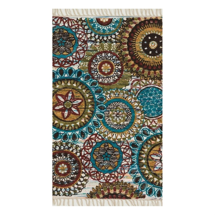 Loloi Aria Ivory/Multicolor Rectangular Indoor Handcrafted Area Rug (Common: 4 x 6; Actual: 3.5-ft W x 5.5-ft L)