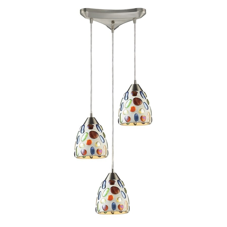 Westmore Lighting Gemstone 12.75-in Satin Nickel Multi-light Art Glass Bell Pendant