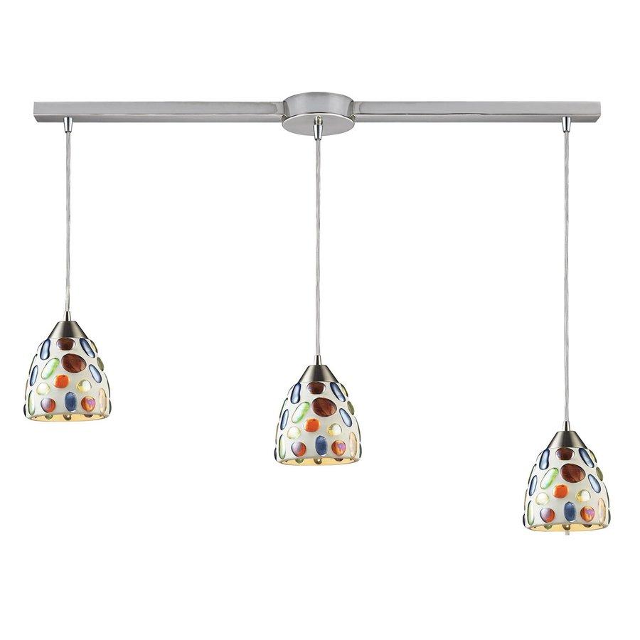 Westmore Lighting Gemstone 37-in Satin Nickel Linear Art Glass Bell Pendant