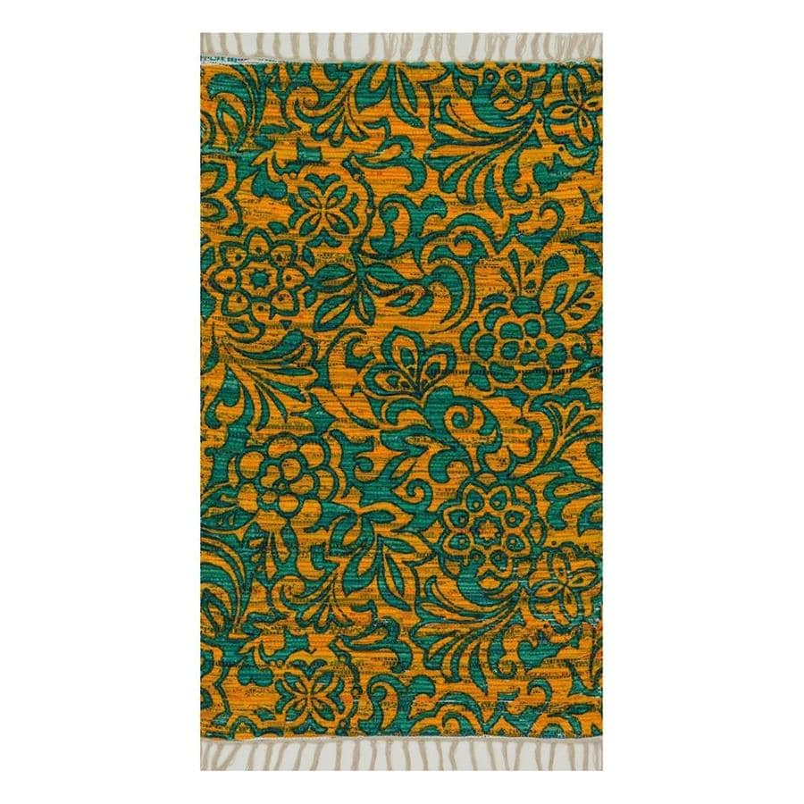 Loloi Aria Lime/Teal Rectangular Indoor Handcrafted Area Rug (Common: 4 x 6; Actual: 3.5-ft W x 5.5-ft L)
