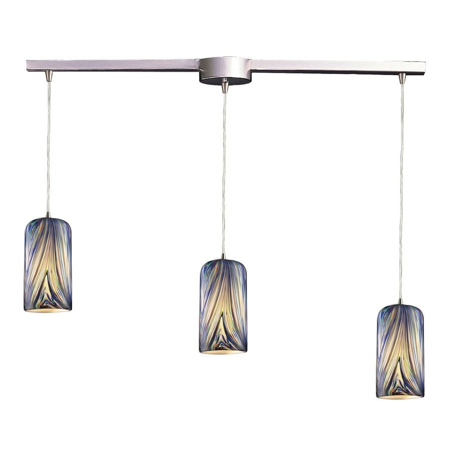 Westmore Lighting Asteria 36-in Satin Nickel Linear Art Glass Cylinder Pendant