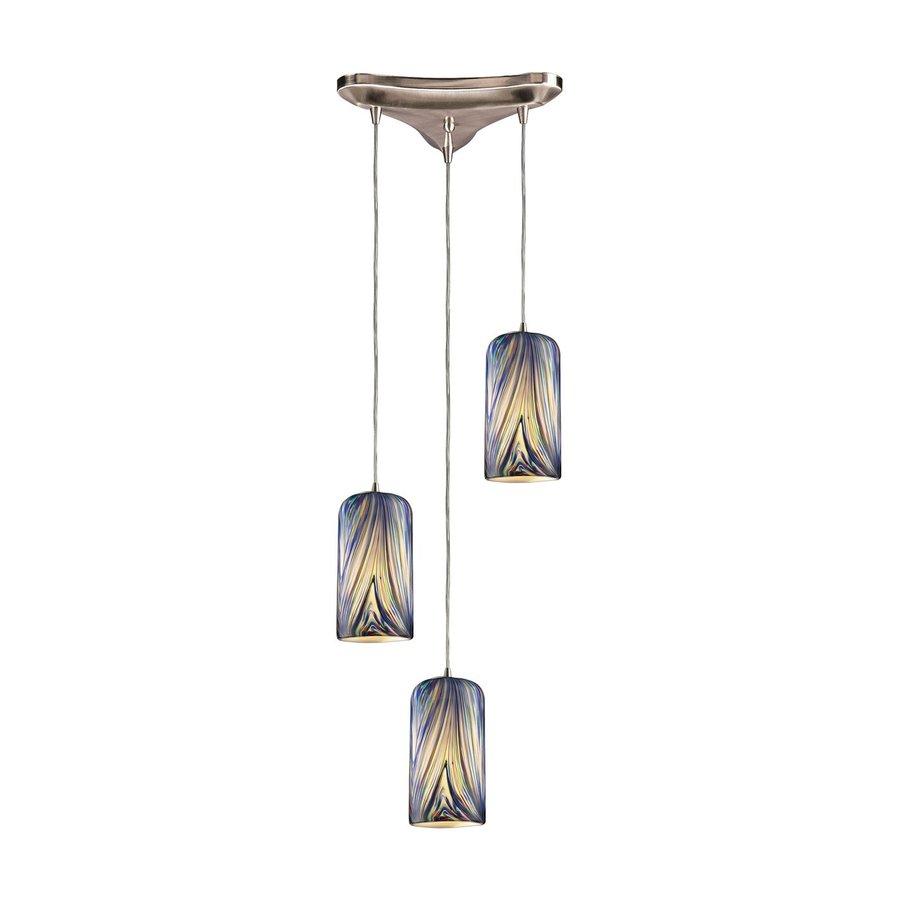 Westmore Lighting Asteria 11.875-in Satin Nickel Multi-light Art Glass Cylinder Pendant