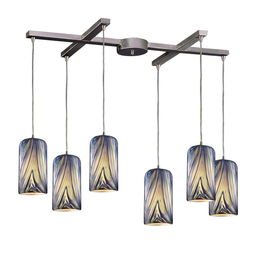 Westmore Lighting Asteria 36-in Satin Nickel Multi-light Art Glass Cylinder Pendant