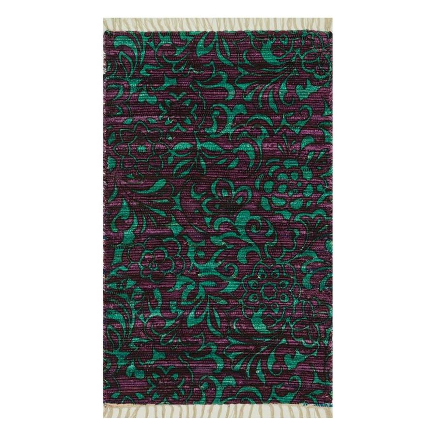 Purple Turquoise Rag Rug: Loloi Aria Purple/turquoise Indoor Handcrafted Throw Rug