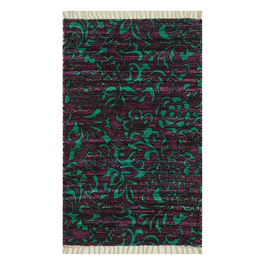 Loloi Aria Purple/Turquoise Rectangular Indoor Handcrafted Area Rug (Common: 2 x 4; Actual: 2.25-ft W x 3.75-ft L)
