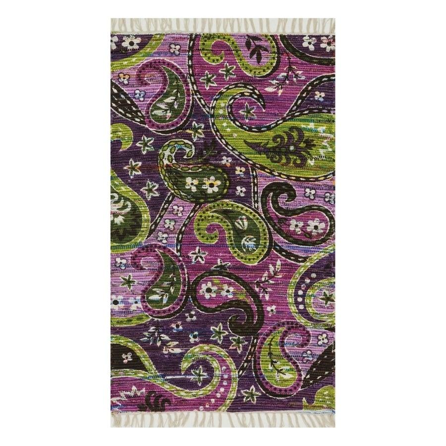 Loloi Aria Purple Rectangular Indoor Handcrafted Area Rug (Common: 4 x 6; Actual: 3.5-ft W x 5.5-ft L)