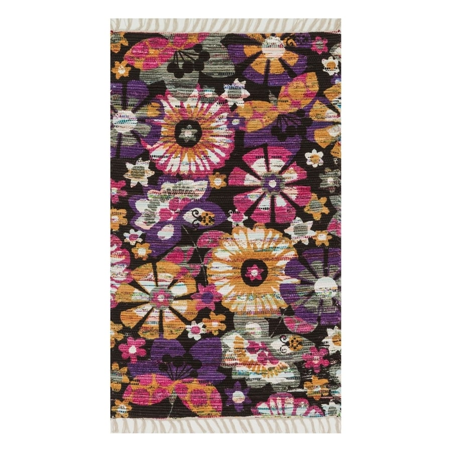 Loloi Aria Violet/Gold Round Indoor Handcrafted Nature Area Rug (Common: 4 x 6; Actual: 3.5-ft W x 5.5-ft L)
