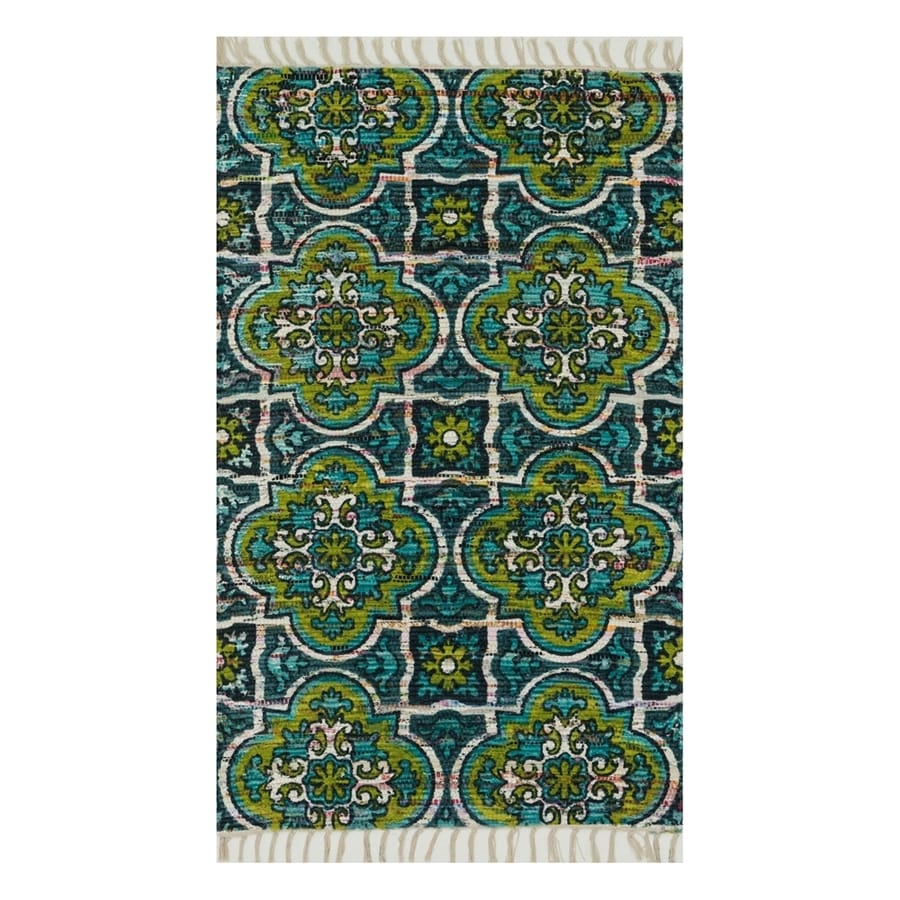 Loloi Aria Blue/Lime Rectangular Indoor Handcrafted Area Rug (Common: 4 x 6; Actual: 3.5-ft W x 5.5-ft L)