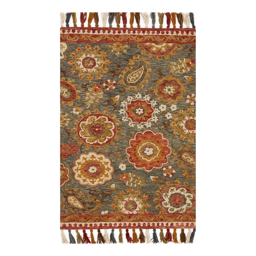 Loloi Farrah Grey/Spice Rectangular Indoor Area Rug (Common: 8 x 10; Actual: 7.75-ft W x 9.75-ft L)