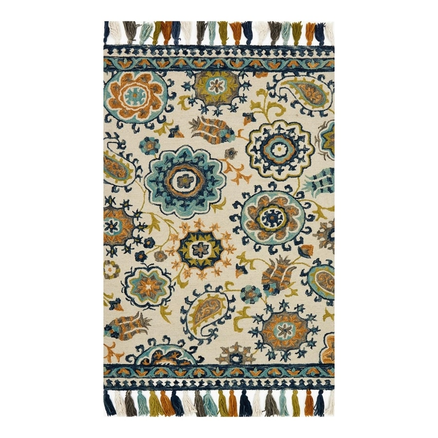 Loloi Farrah Ivory Blue Indoor Handcrafted Area Rug Common 2 X 4