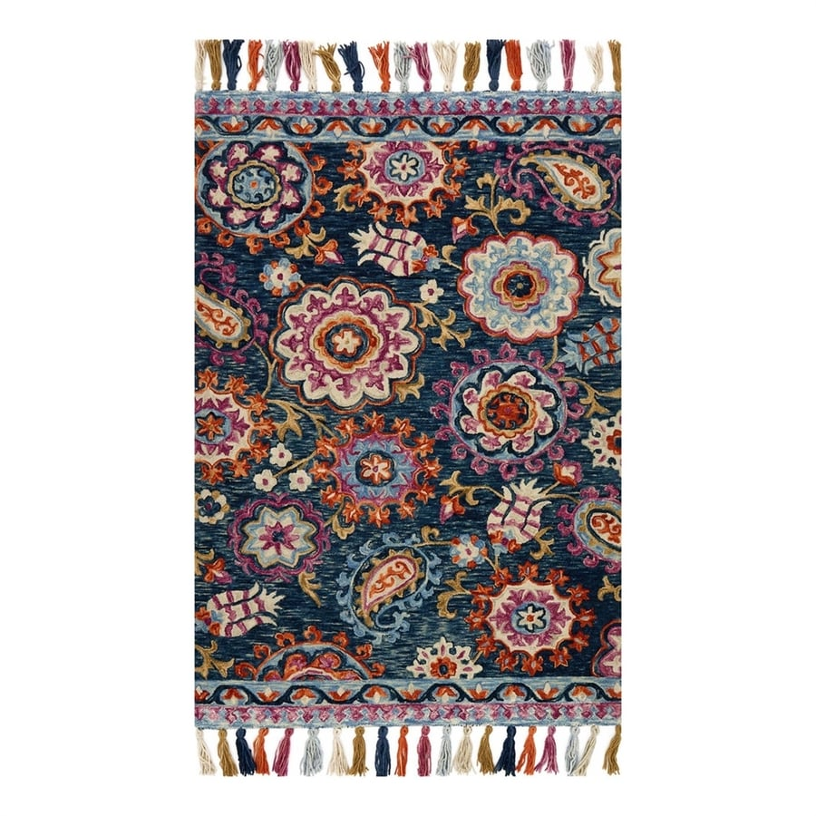 Loloi Farrah Navy/Plum Rectangular Indoor Area Rug (Common: 4 x 6; Actual: 3.5-ft W x 5.5-ft L)
