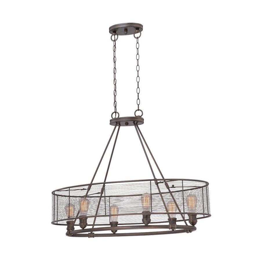 Eurofase Terra 36.5-in 6-Light Bronze Industrial Cage Chandelier