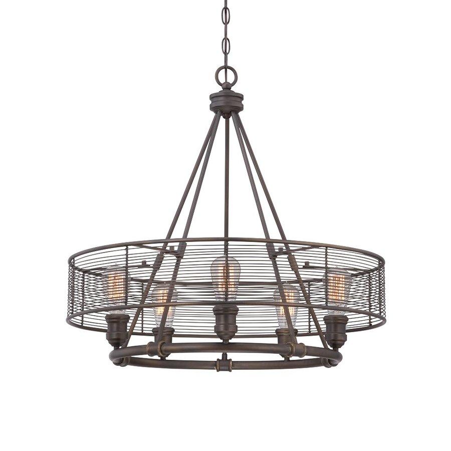 Eurofase Terra 26-in 5-Light Bronze Industrial Cage Chandelier