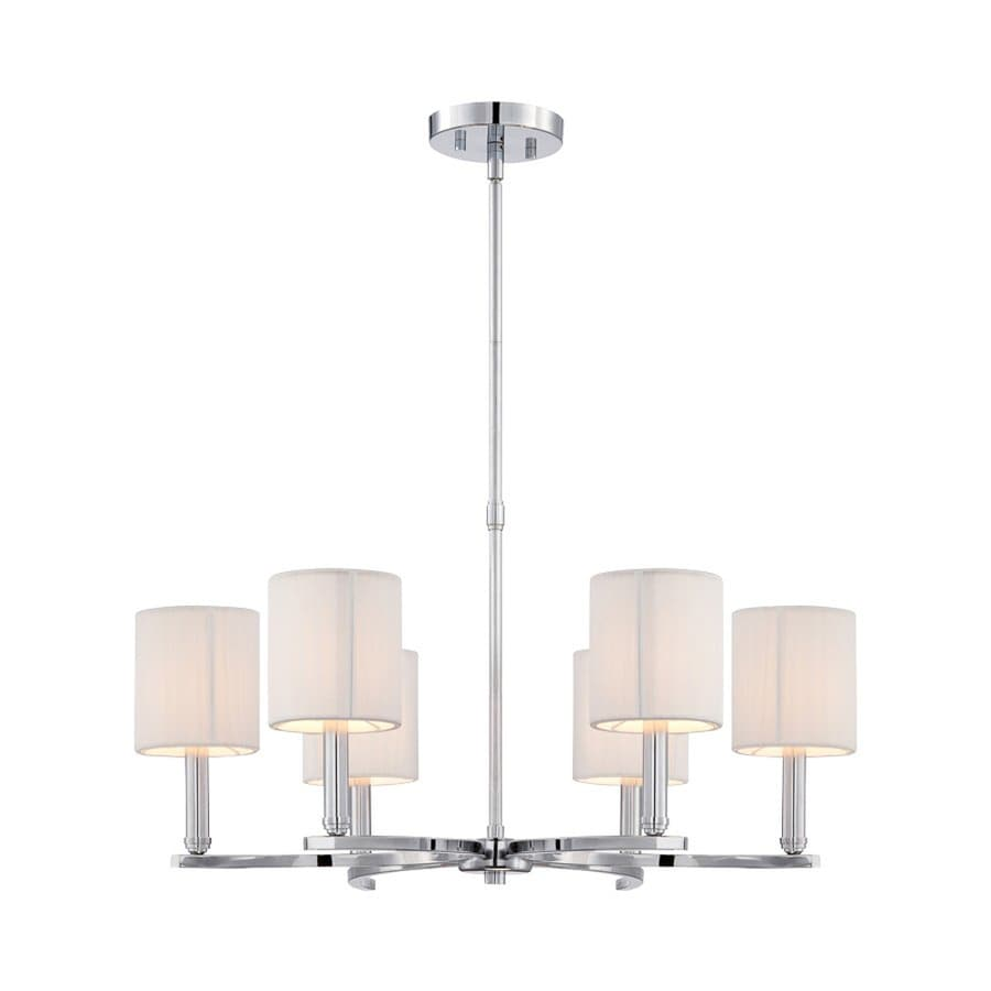 Eurofase Kennedy 26-in 6-Light Chrome Hardwired Shaded Chandelier