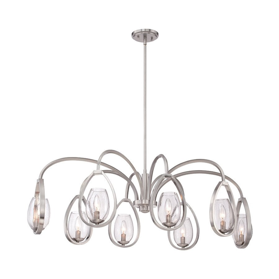 Eurofase Fantini 42-in 8-Light Satin nickel Clear Glass Candle Chandelier