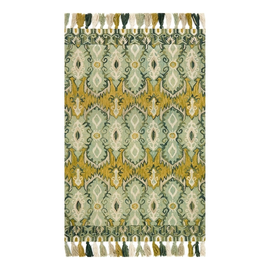Loloi Farrah Aqua/Lime Rectangular Indoor Area Rug (Common: 5 x 8; Actual: 5-ft W x 7.5-ft L)