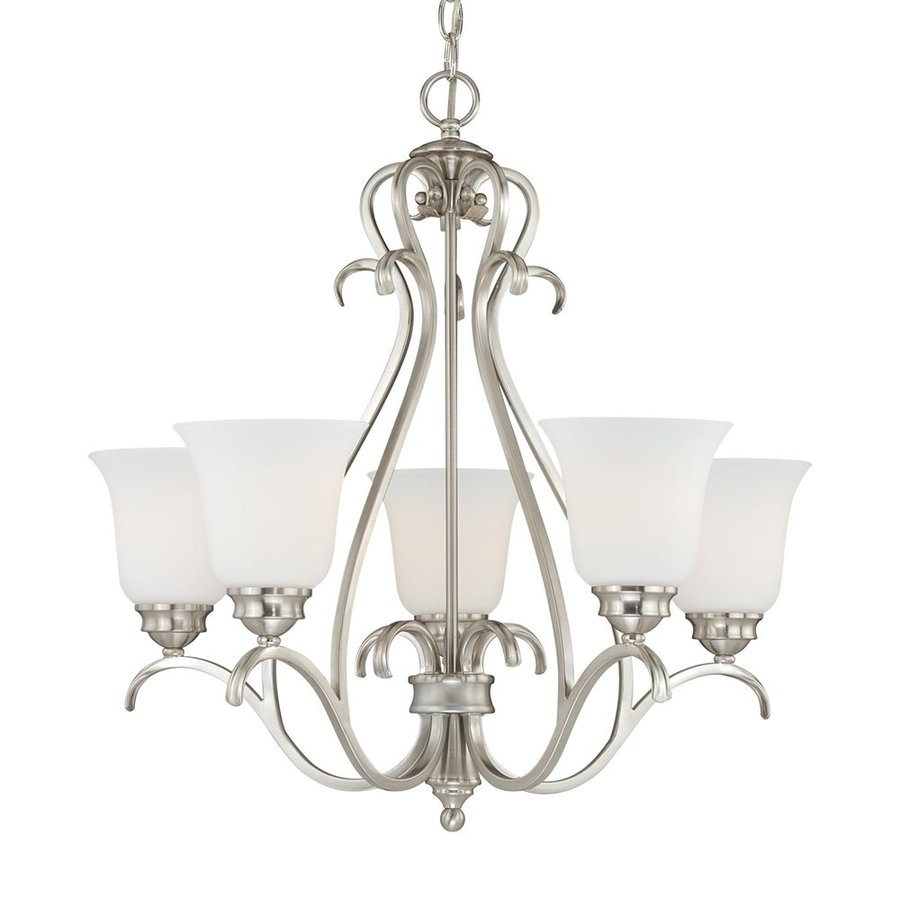 Cascadia Lighting Hartford 25-in 5-Light Satin Nickel Country Cottage Etched Glass Shaded Chandelier