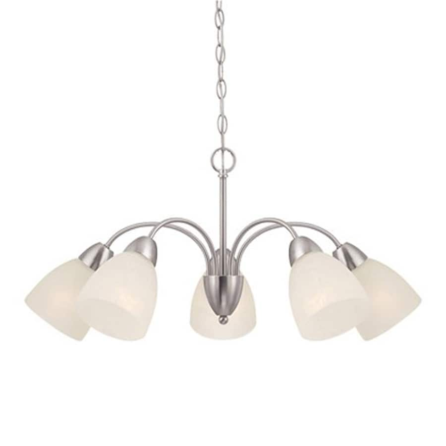 Cascadia Lighting Torino 28.75-in 5-Light Brushed Nickel Hardwired Alabaster Glass Shaded Chandelier
