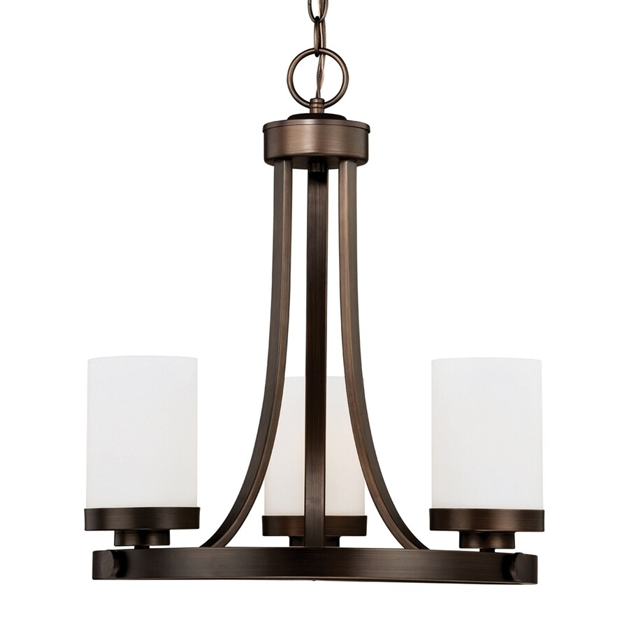 Cascadia Lighting Sorin 18-in 3-Light Architectural Bronze Hardwired Shaded Chandelier