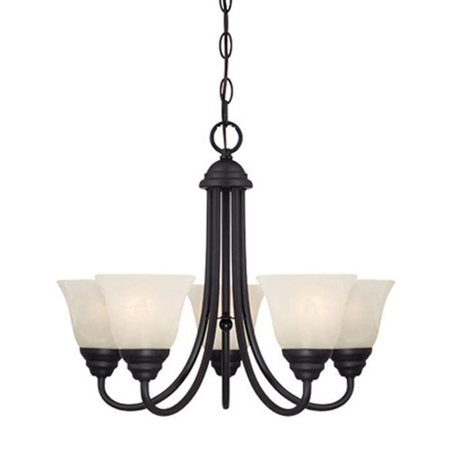 Cascadia Lighting Kendall 20.25-in 5-Light Oil-Rubbed Bronze Hardwired Alabaster Glass Shaded Chandelier