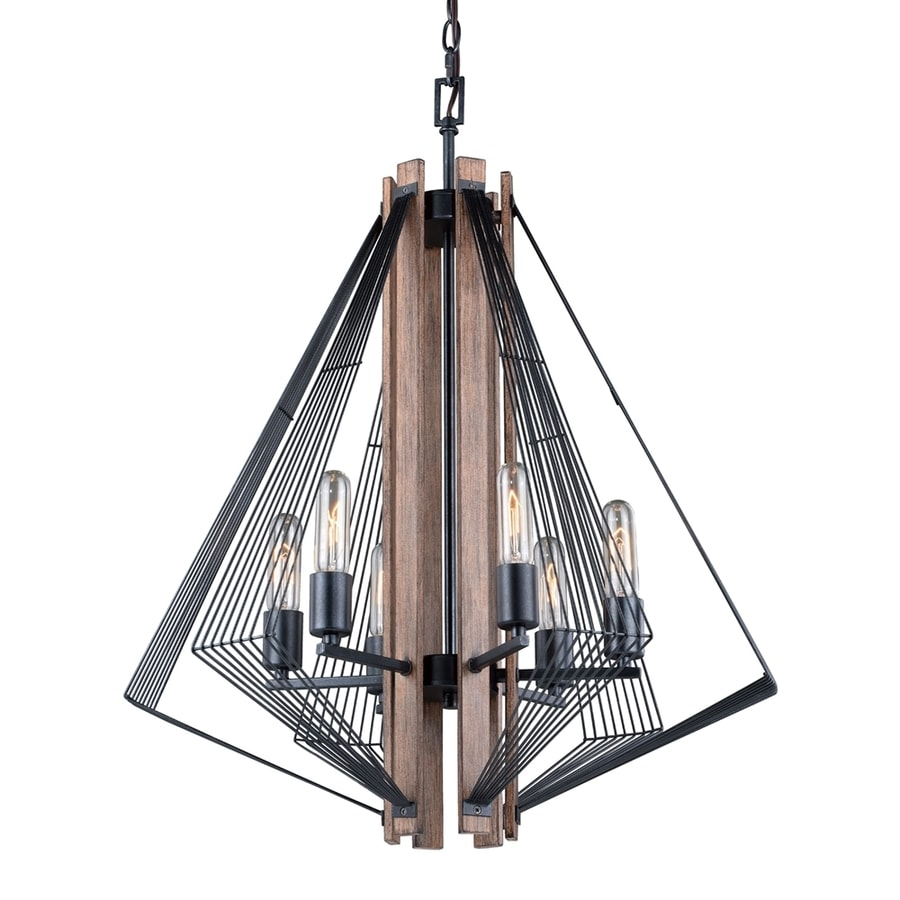 Cascadia Lighting Dearborn 24.75-in 6-Light Black/Burnished Wood Candle Chandelier
