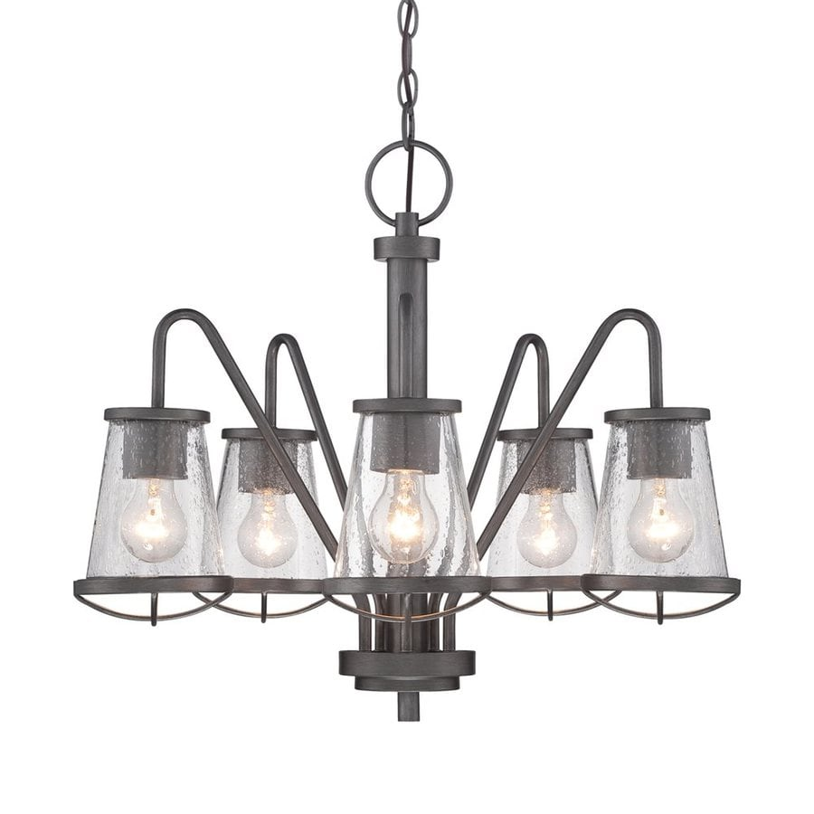 Cascadia Lighting Darby 22.75-in 5-Light Weathered iron Industrial Seeded Glass Shaded Chandelier