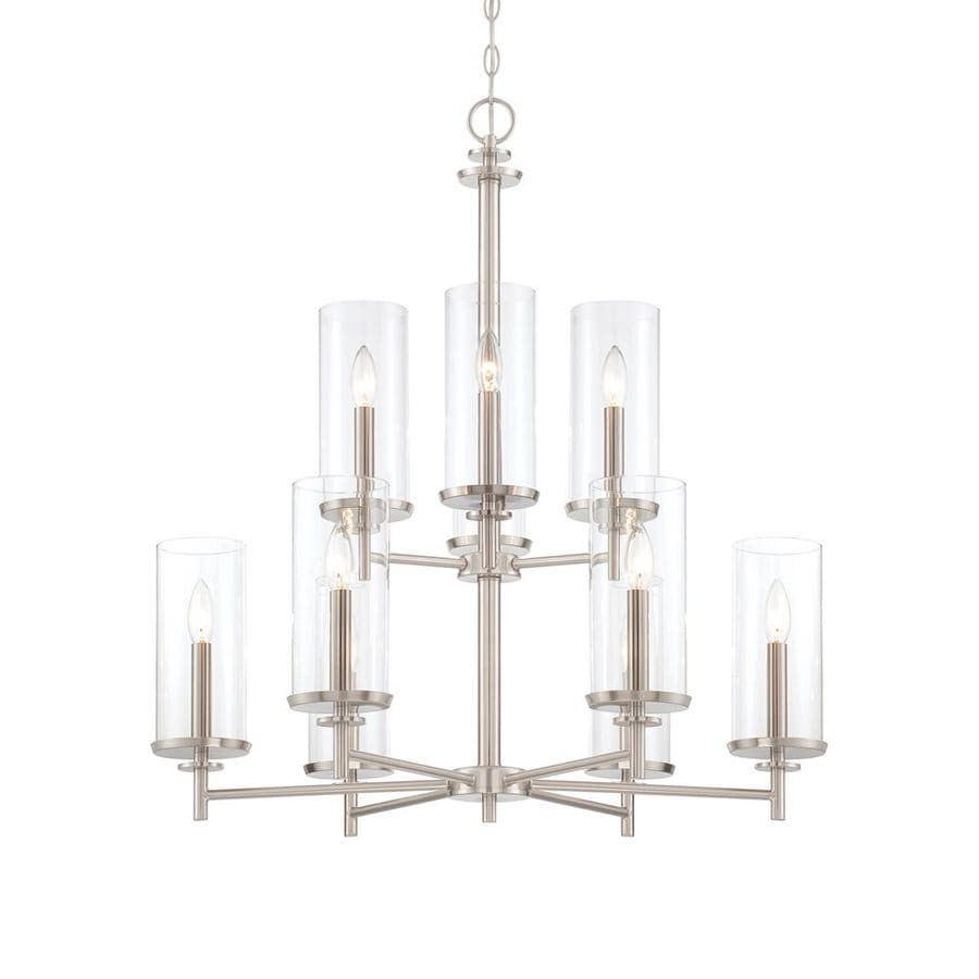 Cascadia Lighting Harlowe 29-in 9-Light Satin platinum Clear Glass Tiered Chandelier