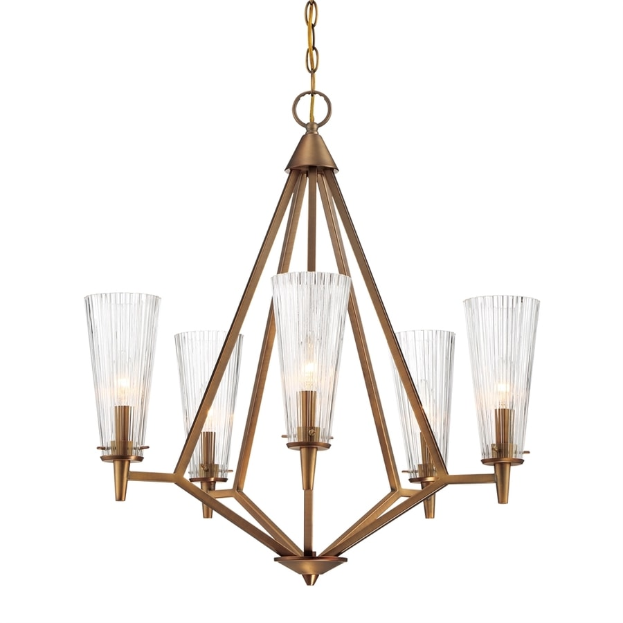 Cascadia Lighting Montelena 25.25-in 5-Light Old satin brass Ribbed Glass Shaded Chandelier
