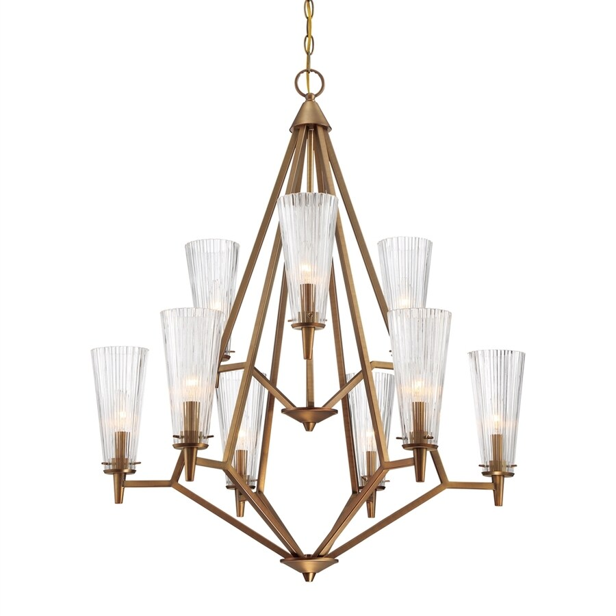Cascadia Lighting Montelena 30.5-in 9-Light Old satin brass Ribbed Glass Tiered Chandelier
