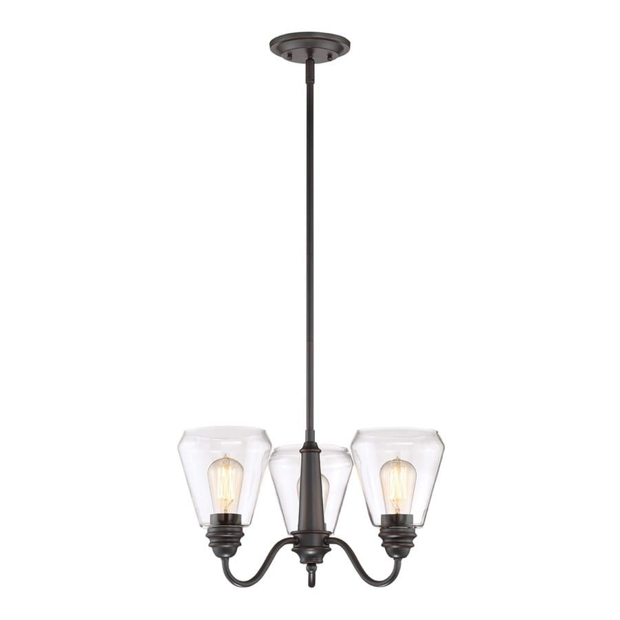 Cascadia Lighting Foundry 19-in 3-Light Satin bronze Clear Glass Shaded Chandelier