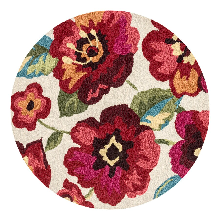 Loloi Francesca Ivory/Fuchsia Round Indoor Handcrafted Nature Area Rug (Common:; Actual: W x L x 3-ft dia)