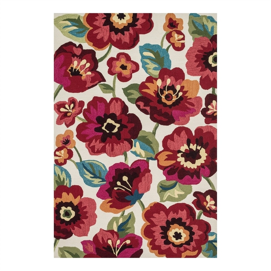 Loloi Francesca Ivory/Fuchsia Rectangular Indoor Handcrafted Nature Area Rug (Common: 5 x 8; Actual: 5-ft W x 7.5-ft L)