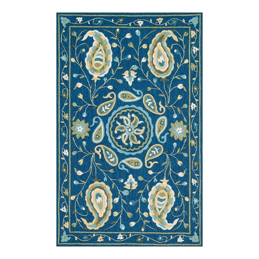Loloi Francesca Blue/Green Rectangular Indoor Handcrafted Nature Area Rug (Common: 2 x 4; Actual: 2.25-ft W x 3.75-ft L)