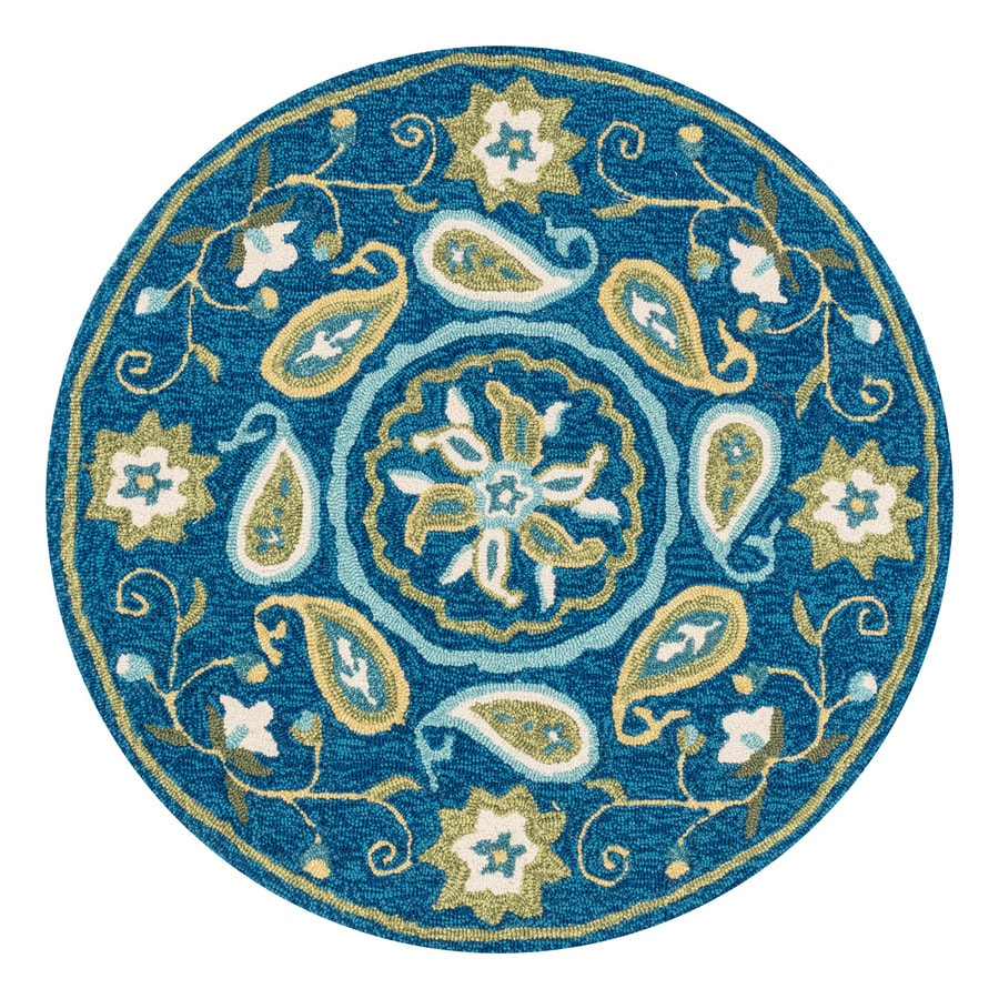 Loloi Francesca Blue/Green Round Indoor Handcrafted Nature Area Rug (Common:; Actual: W x L x 3-ft dia)
