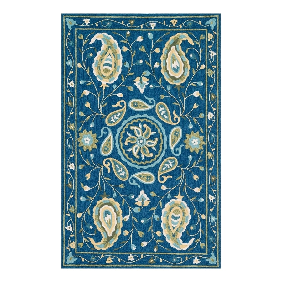 Loloi Francesca Blue/Green Rectangular Indoor Handcrafted Nature Area Rug (Common: 4 x 6; Actual: 3.5-ft W x 5.5-ft L)