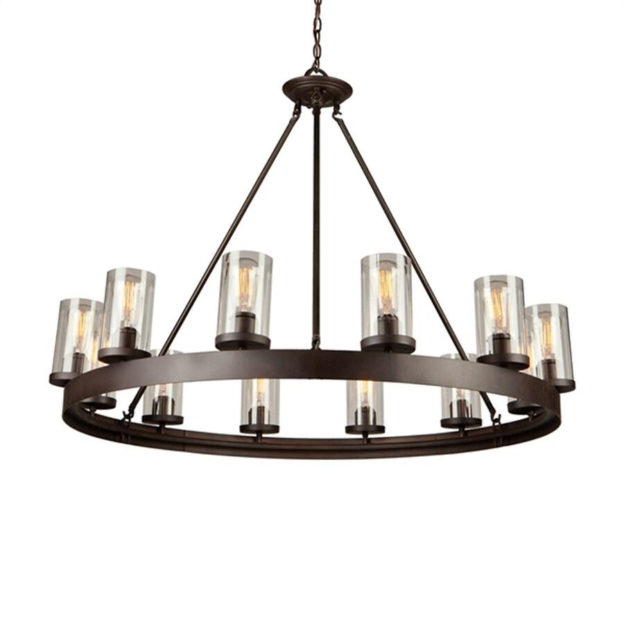 Artcraft Lighting Menlo Park 46-in 12-Light Dark chocolate brown Barn Clear Glass Candle Chandelier