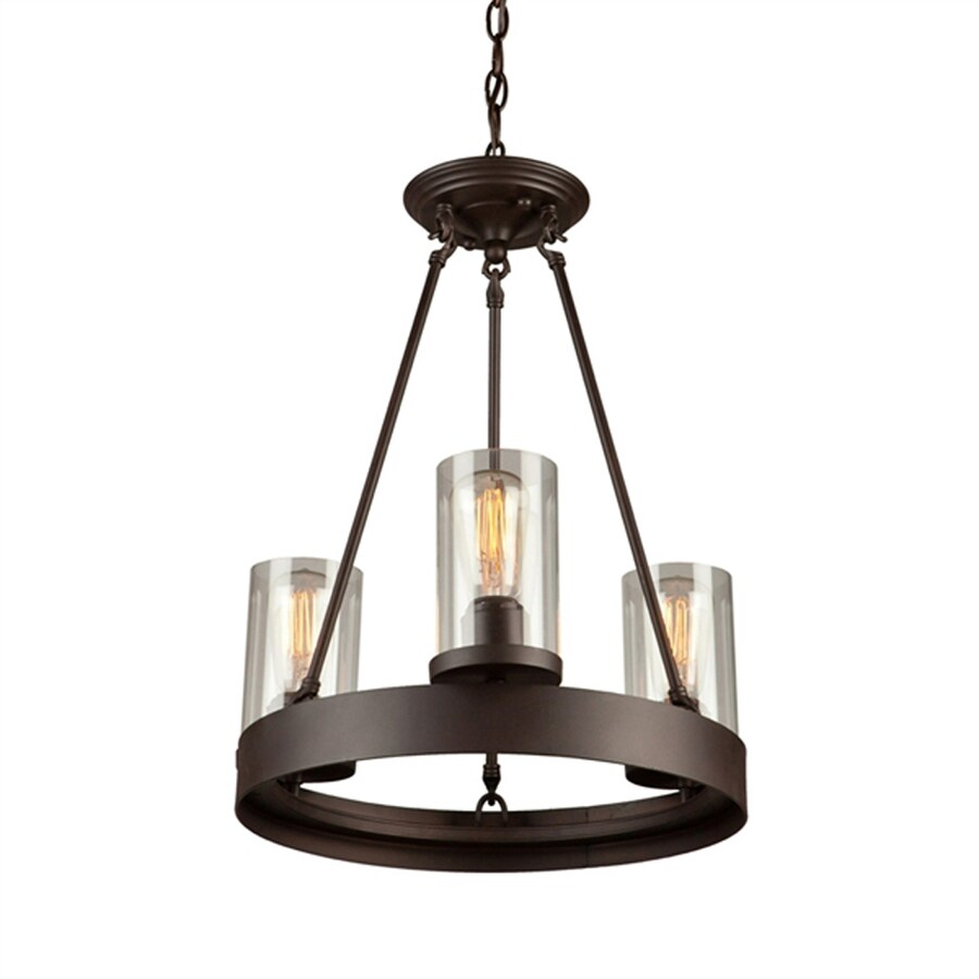 Artcraft Lighting Menlo Park 17.5-in 3-Light Dark chocolate brown Barn Clear Glass Candle Chandelier
