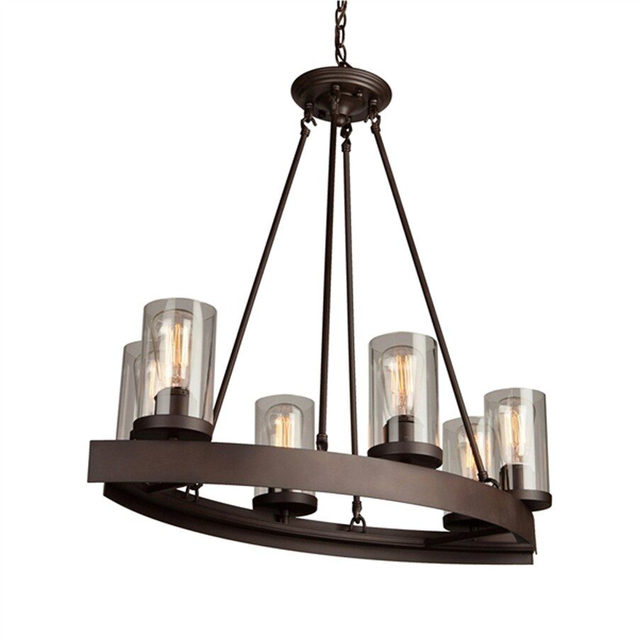 Artcraft Lighting Menlo Park 31 5 In 6 Light Dark Chocolate Brown Farmhouse Clear Glass