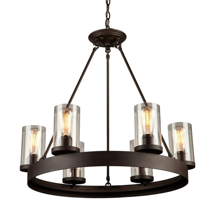 Artcraft Lighting Menlo Park 25.5-in 6-Light Dark chocolate brown Barn Clear Glass Candle Chandelier