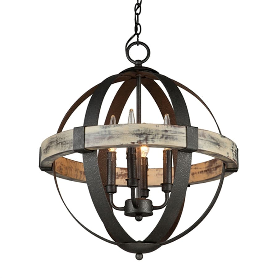 Artcraft Lighting Castello 20-in 4-Light Black/aspen wood Rustic Globe Chandelier
