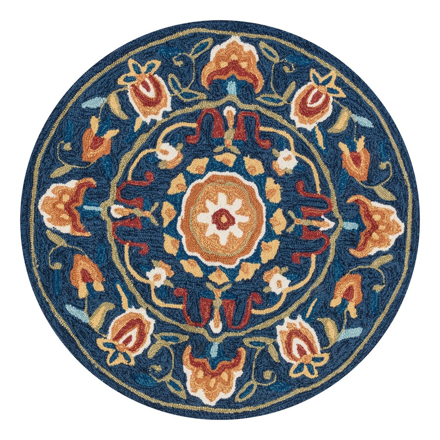Loloi Francesca Blue/Spice Round Indoor Handcrafted Nature Area Rug (Common:; Actual: W x L x 3-ft dia)