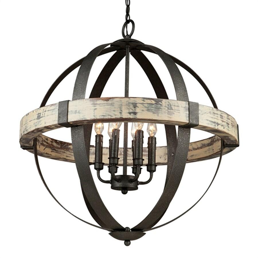 Artcraft Lighting Castello 26.5-in 6-Light Black/Aspen Wood Rustic Hardwired Globe Chandelier