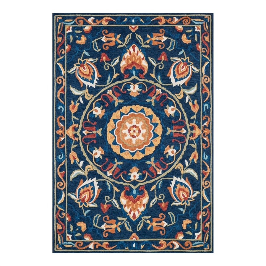 Loloi Francesca Blue/Spice Rectangular Indoor Handcrafted Nature Area Rug (Common: 5 x 8; Actual: 5-ft W x 7.5-ft L)