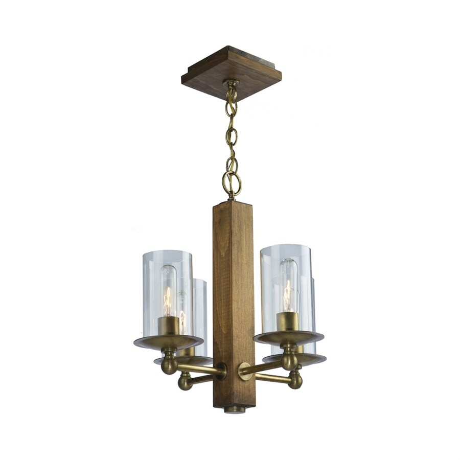Artcraft Lighting Legno Rustico 16-in 4-Light Light natural pine/burnished brass Rustic Clear Glass Candle Chandelier