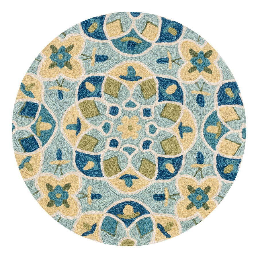 Loloi Francesca Turquoise/Sea Round Indoor Handcrafted Area Rug (Common:; Actual: W x L x 3-ft dia)